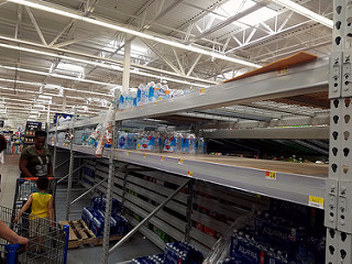 the empty shelves for water at our local Walmart yesterday